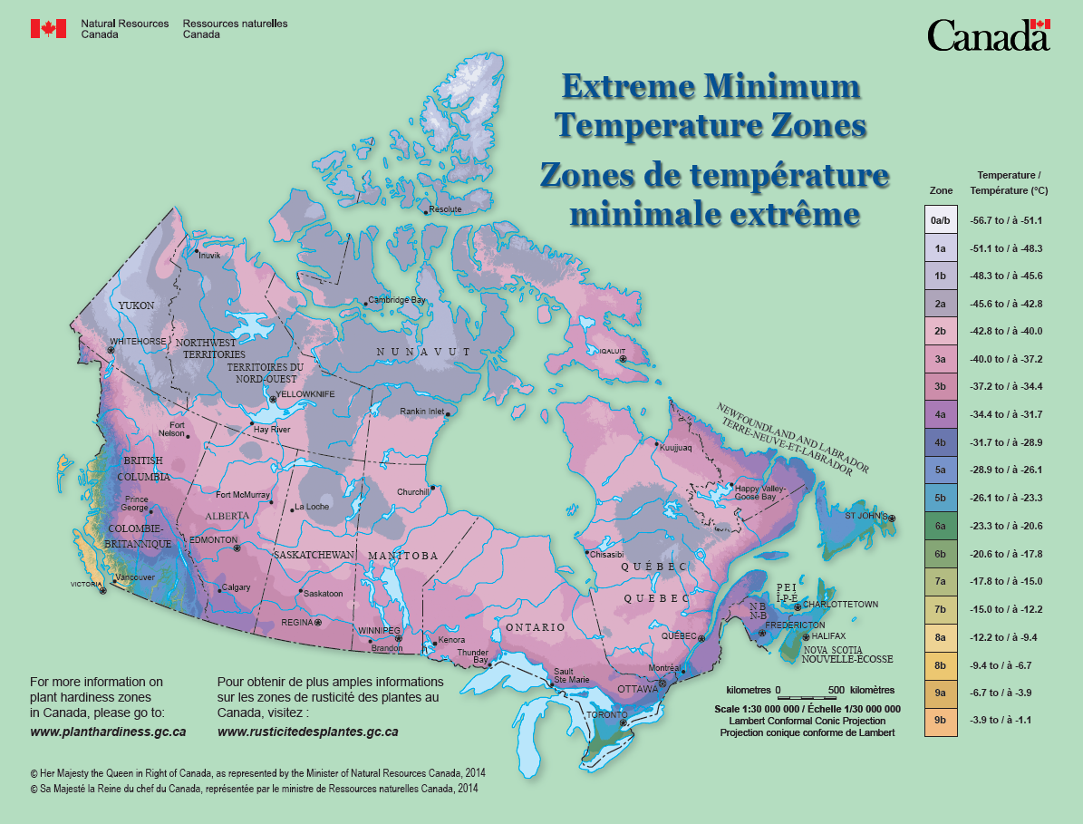 Extreme Minimum Temperature Zones